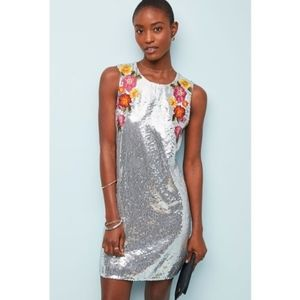 Anthropologie Varun Bahl Silver Sequin Shift Dress